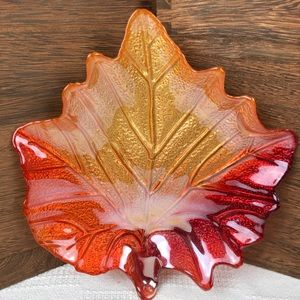 Glass Painted Ombre Maple Leaf Jewelry Dish